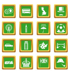 Great britain icons set green vector
