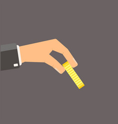 Hand giving gold coin flat vector