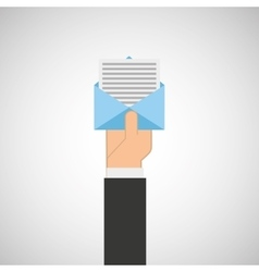 hand hold icon envelope email message design flat vector image