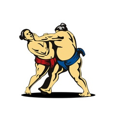Japanese Sumo Wrestlers Fighting vector image