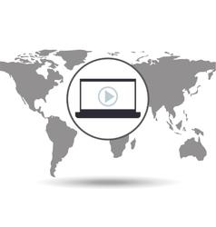laptop social media world map vector image vector image