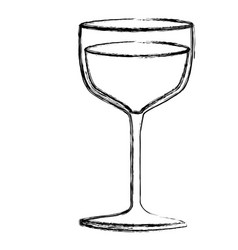 Monochrome sketch silhouette of glass cup in vector