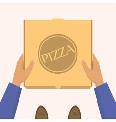 Pizza delivery handing product boxes delivery men vector