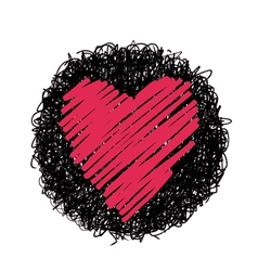 Red heart and black circle vector