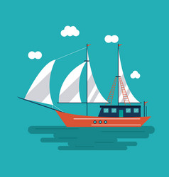 Sailboat ship sea design vector