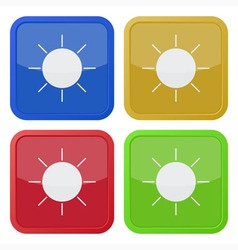 set of four square icons with sun vector image