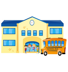 students and school bus in front of school vector image