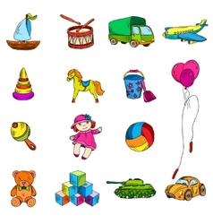 Toys sketch icons set vector