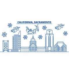 Usa california sacramento winter city skyline vector
