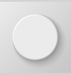 White Blank Circle Button Icon on Light Background vector image