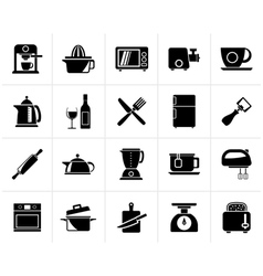 Black kitchenware objects and equipment icons vector