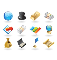 Isometric-style icons for global finance vector image
