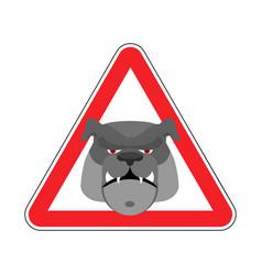 Angry dog warning sign red bulldog hazard vector