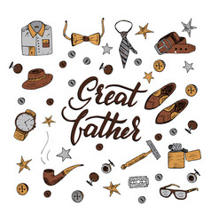 Quote great father excellent holiday card vector