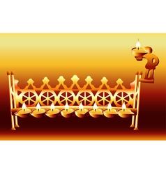 16th century german hanukkah menorah vector