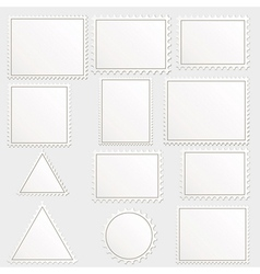 Big set of blank postage stamps different vector