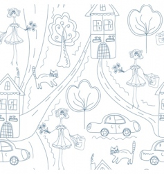 seamless cute pattern with girl vector image