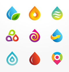 Water drop symbol logo icon set vector