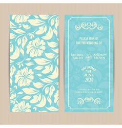 Double invitation card on blue floral background vector