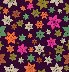 Abstract colorful flowers seamless pattern vector