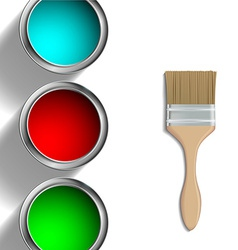 Buckets of paint and paint brush vector
