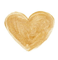 Gold acrylic heart Hand drawn vector image