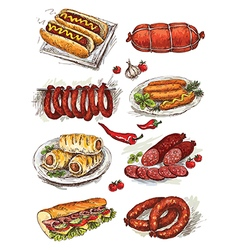 Hand drawing sausage vector