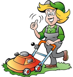 Cartoon of a handy gardener woman with a lawnmower vector