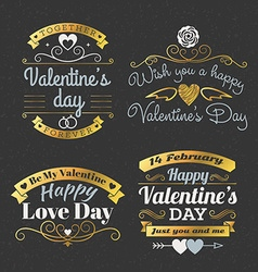 Set of retro vintage happy valentines day badges vector