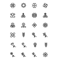 Flowers and Floral Line Icons 5 vector image
