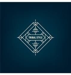 Abstract tribal line shape logo frame vector