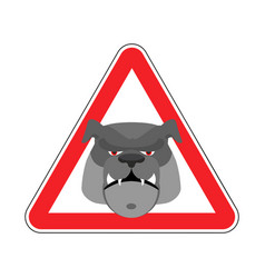 Angry dog warning sign red bulldog hazard vector