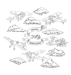 background with retro airplanes and clouds vector image