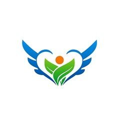 Bio ecology green leaf people wing logo vector