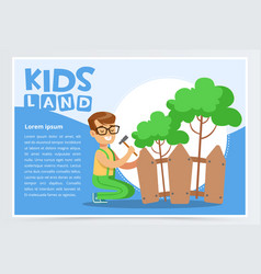 Boy repairing fence with hammer eco concept kids vector