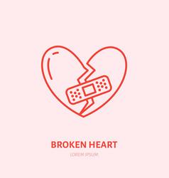 broken heart heartbreak flat line vector image vector image