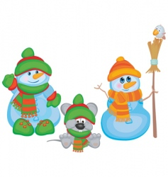cartoon snowmen vector image
