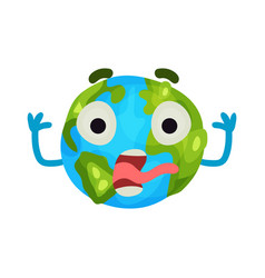 cute cartoon frightened earth planet emoji vector image