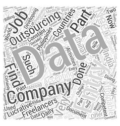 Data entry outsourcing word cloud concept vector