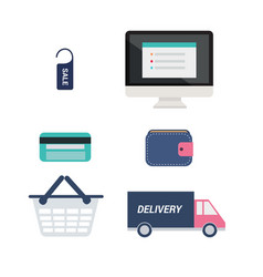 e-commerce icons set computer with price tag vector image vector image