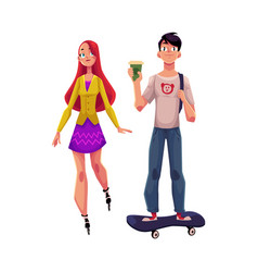 girl woman riding roller skates and boy man on vector image