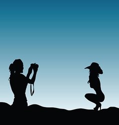 Girls silhouette in nature make photography vector