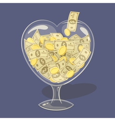 Glass money heart vector
