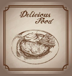 Hand drawn beef vegetable delicious food with dish vector