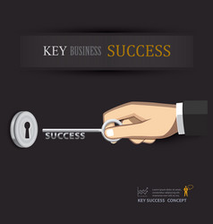 Hand unlock key success business vector