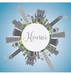 Hanoi skyline with gray landmarks vector