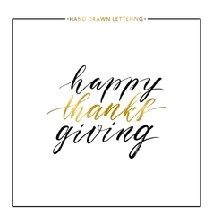 Happy Thanks Giving gold text isolated on white vector image vector image