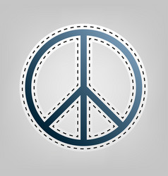 Peace sign blue icon with vector