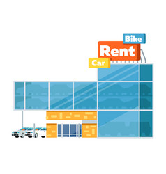 Rental business conceptual icon with car showroom vector