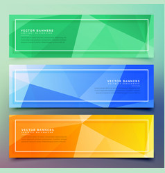 Set of three geometric colorful banners vector